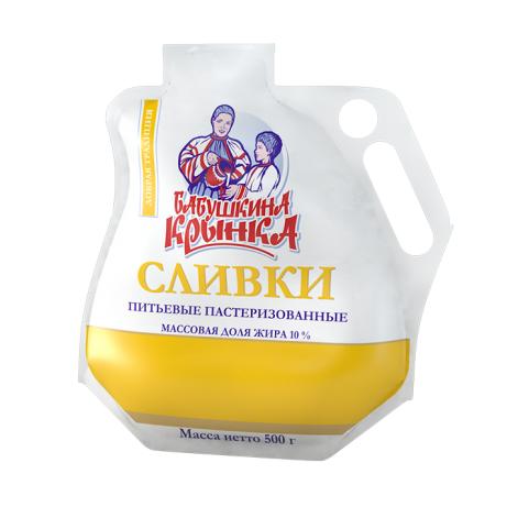 Сливки Бабушкина крынка питьевые пастеризованные, жирность